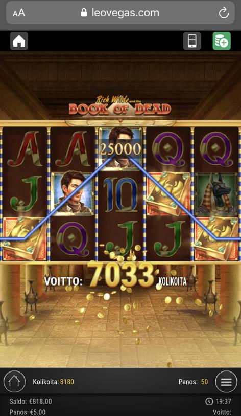 Book of Dead Casino win picture by sonefinland 18.11.2020 2500e 500X LeoVegas