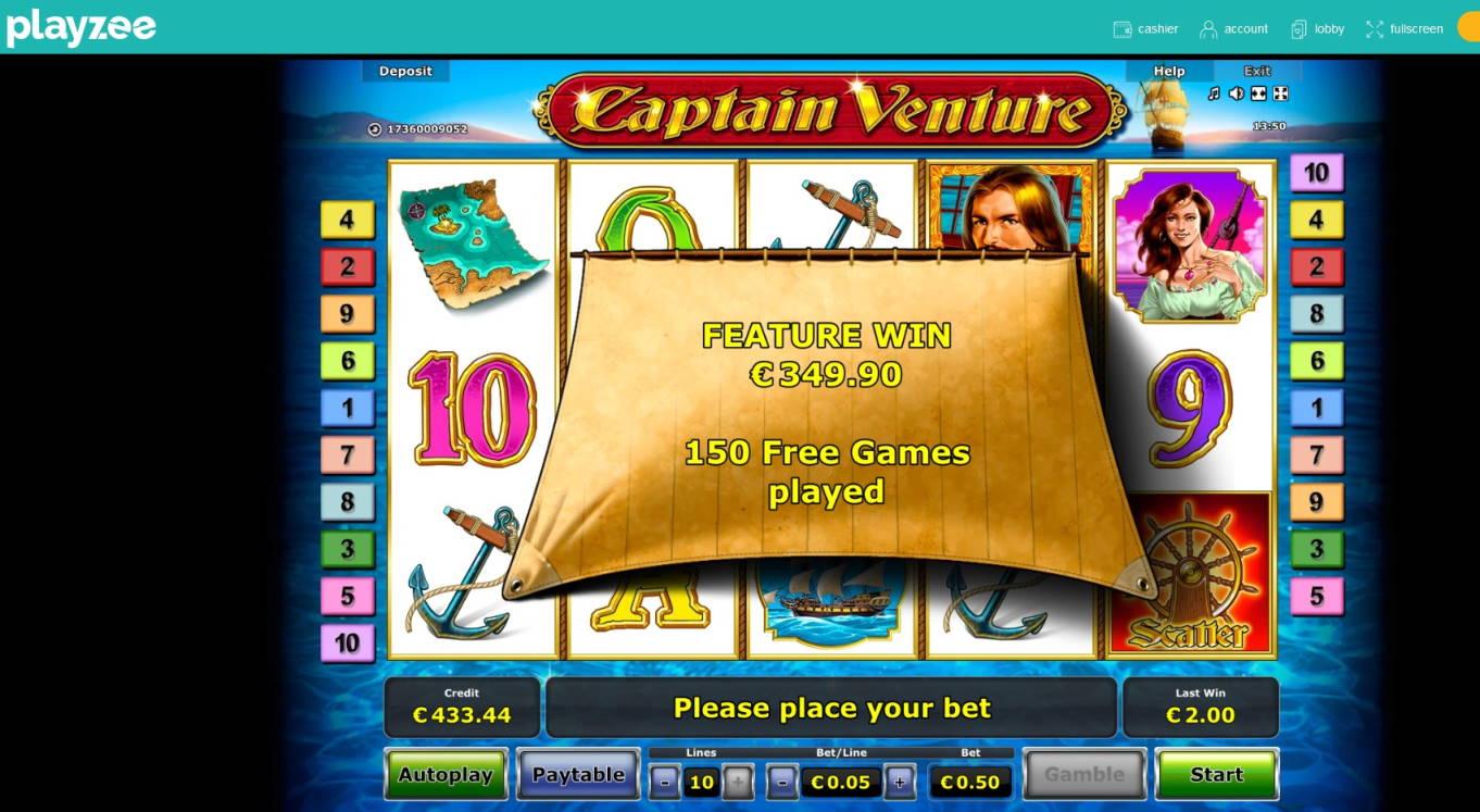 Captain Venture Casino win picture by MrMork 26.11.2020 349.90e 700X Playzee