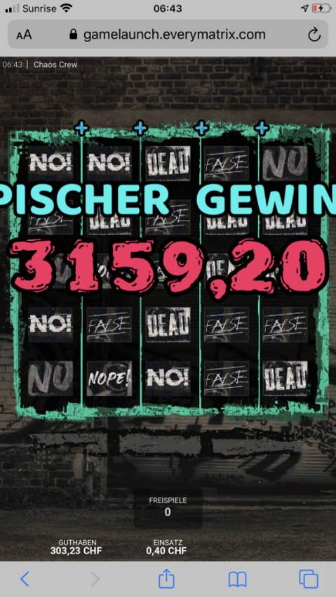 Chaos Crew Casino win picture by sashasgamerkitchen 4.12.2020 3159.20Chf 7898X