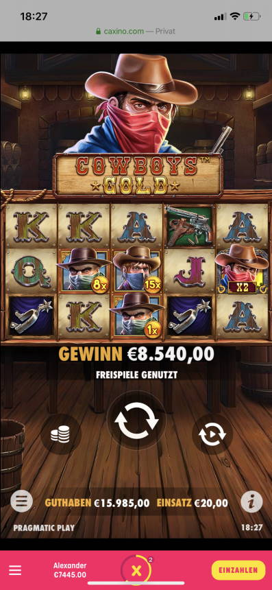 Cowboys Gold Casino win picture by Dercromite 25.11.2020 15985€ 799X Caxino