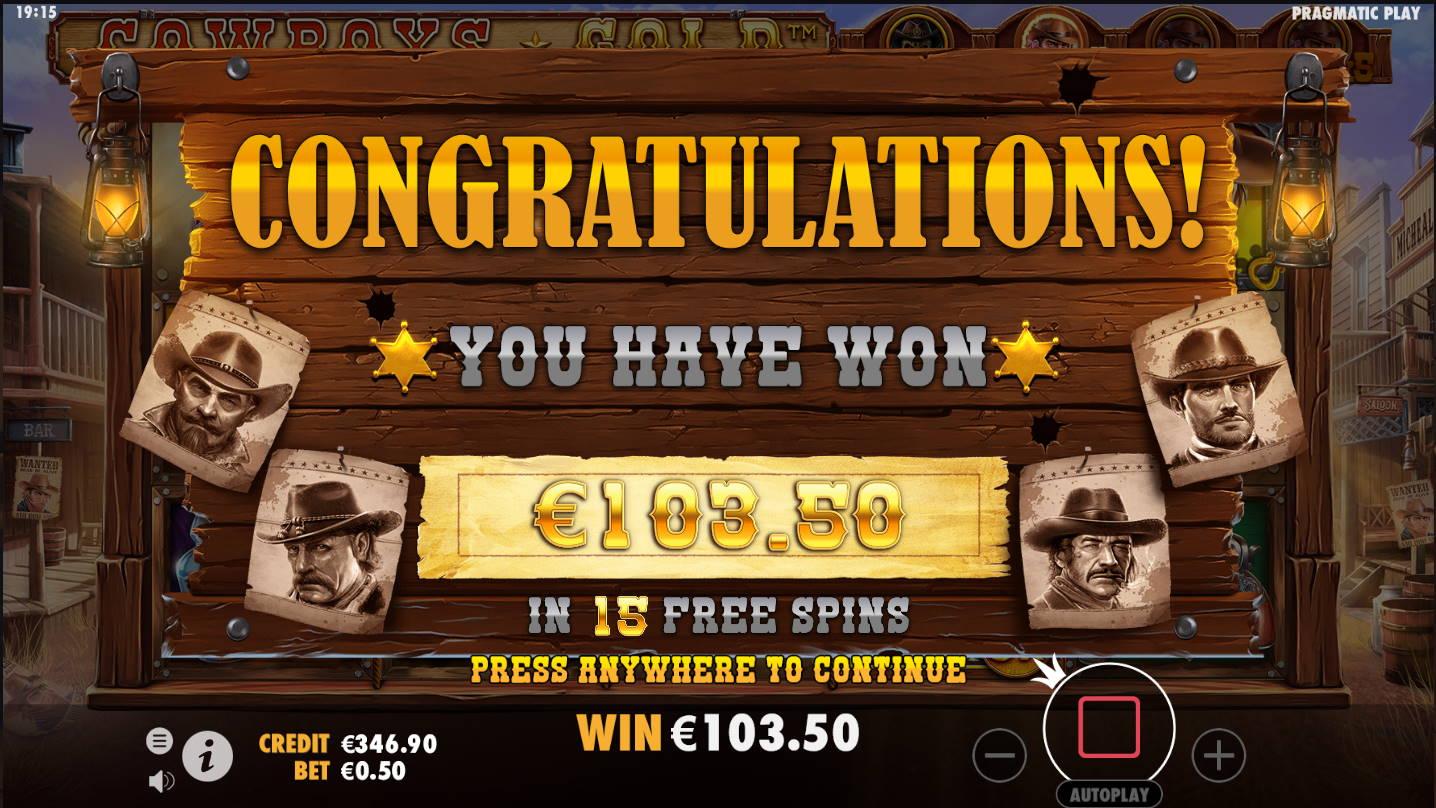 Cowboys Gold Casino win picture by Kari Grandi 23.11.2020 103.50e 207X