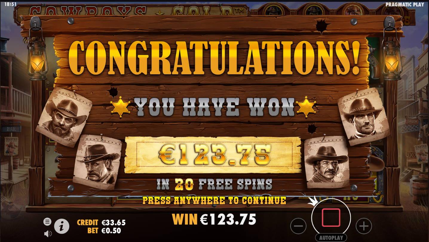 Cowboys Gold Casino win picture by Kari Grandi 23.11.2020 123.75e 248X