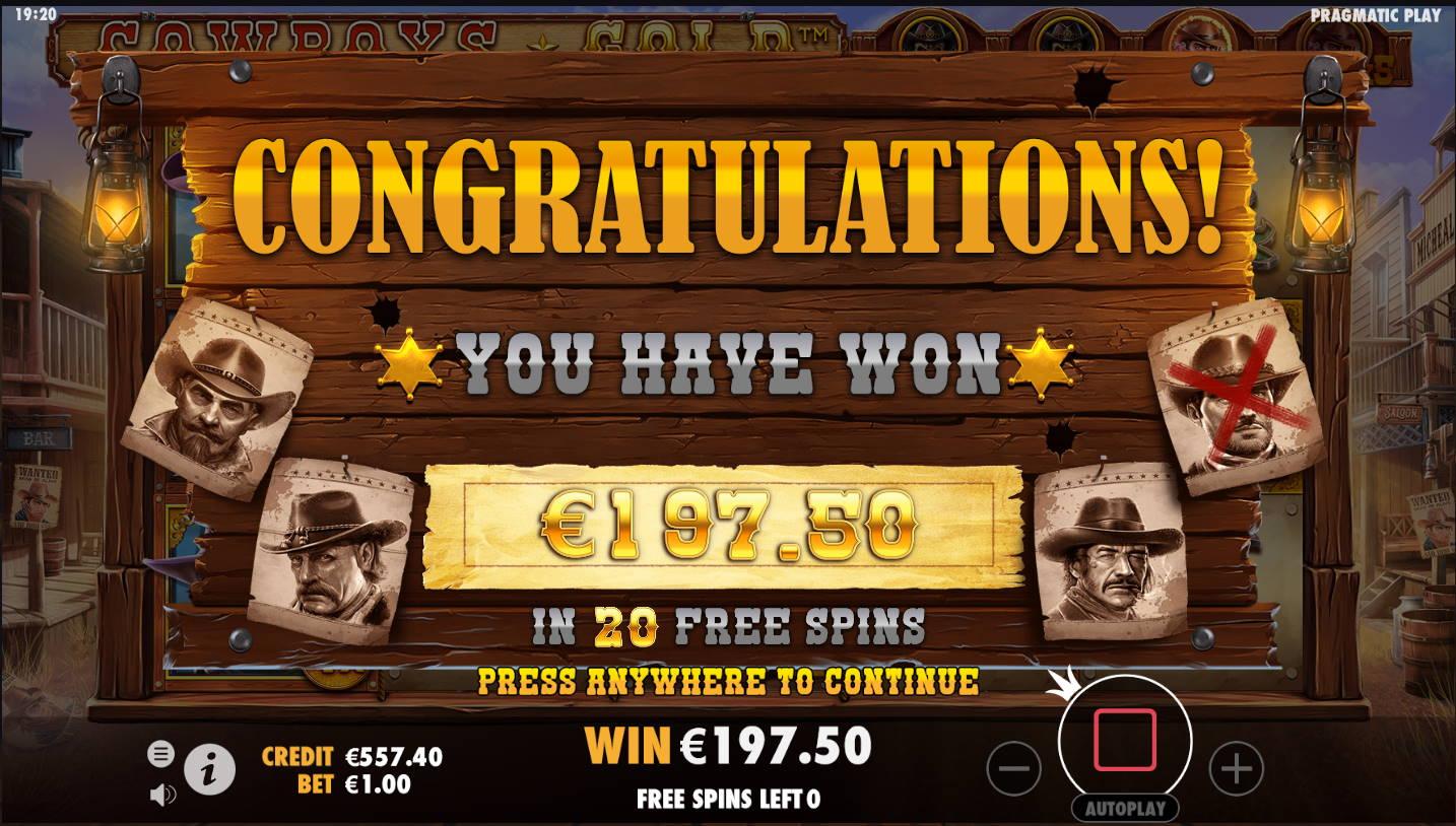 Cowboys Gold Casino win picture by Kari Grandi 23.11.2020 197.50e 198X