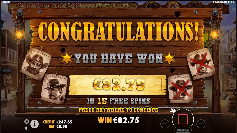 Cowboys Gold Casino win picture by Kari Grandi 23.11.2020 82.75e 166X