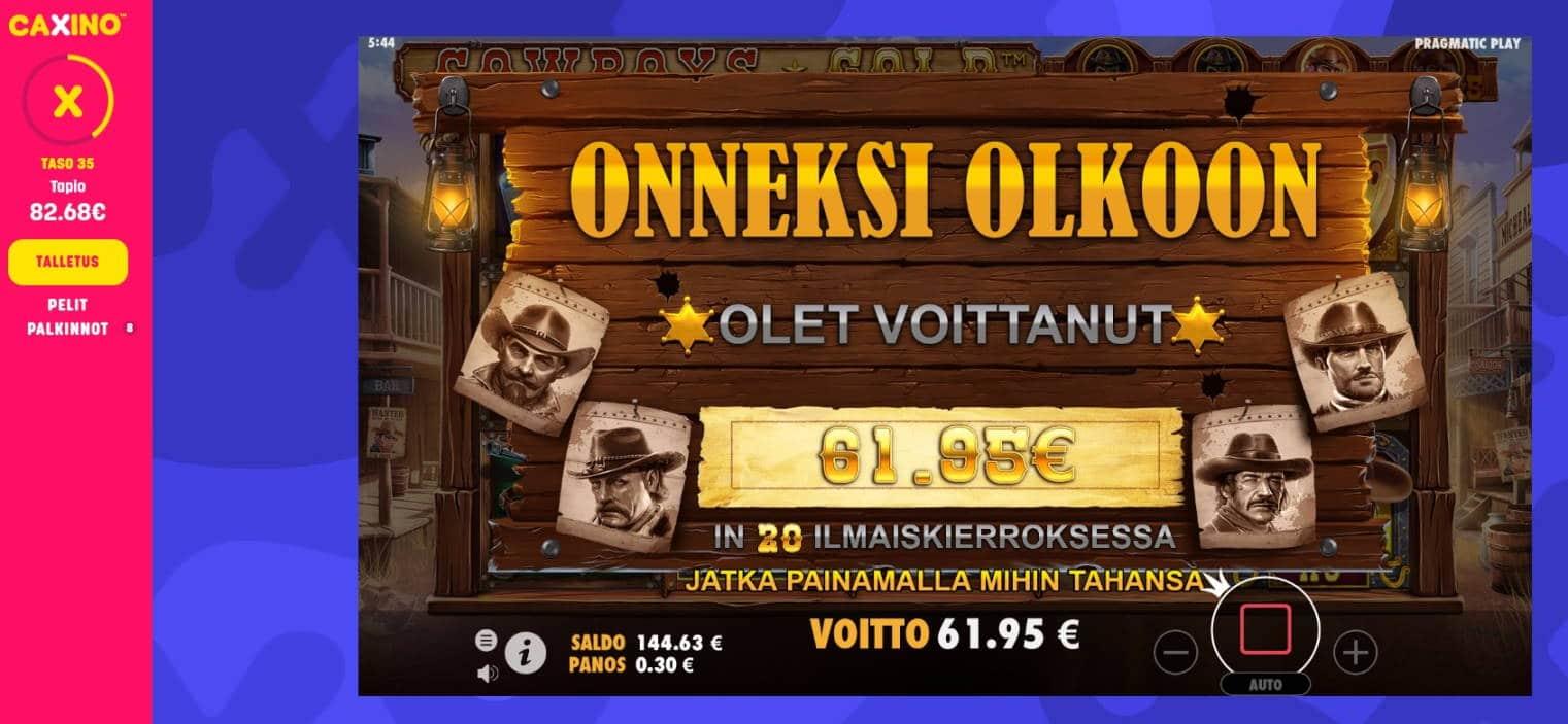 Cowboys Gold Casino win picture by Mrmork666 61.95e 207x Caxino