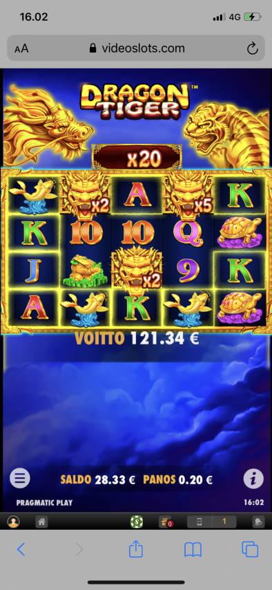 Dragon tiger Casino win picture by leif991 4.12.2020 121.34e 607X Video Slots