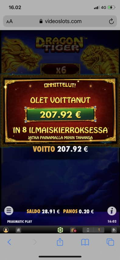 Dragon tiger Casino win picture by leif991 4.12.2020 207.92ee 1040XX Video Slots