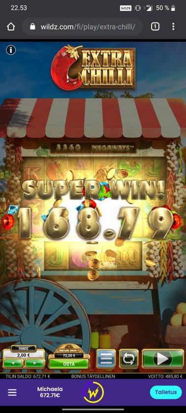 Extra Chilli Casino win picture by tiikerililja87 20.11.2020 485.80e 243X Wildz