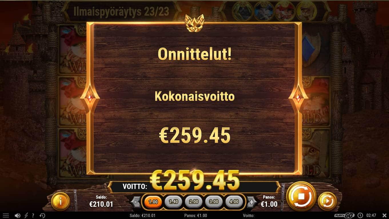 Feline fury Casino win picture by Kari Grandi 14.12.2020 259.45e 259X
