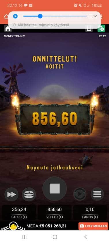 Money Train 2 Casino win picture by holari993 26.11.2020 856.60e 8566X LeoVegas