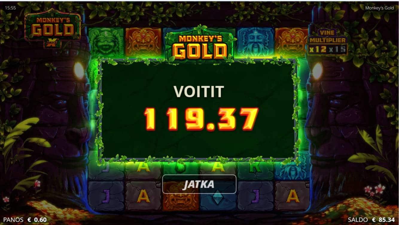 Monkeys Gold Casino win picture by Kari Grandi 24.11.2020 119.37e 199X