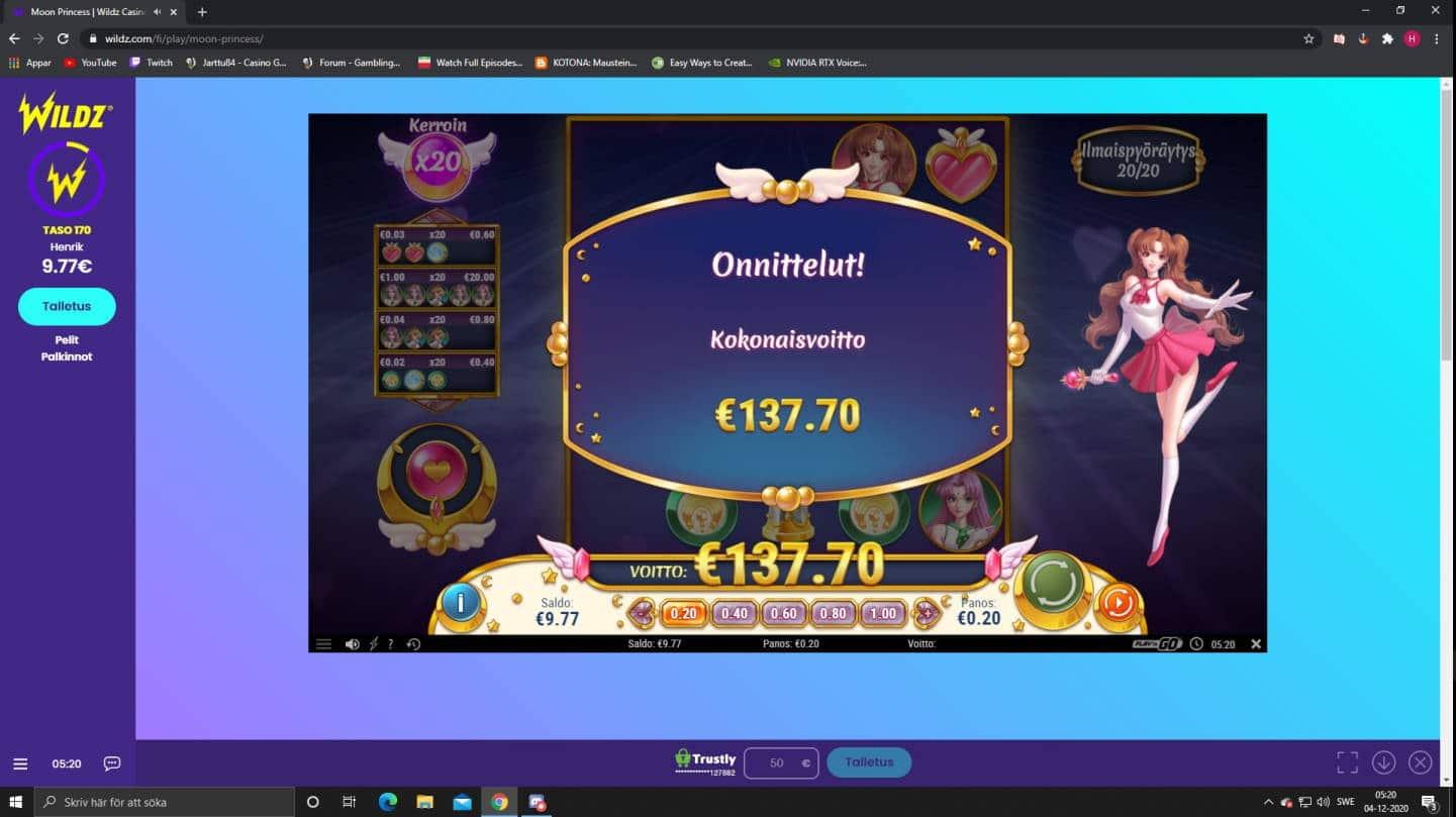 Moon Princess Casino win picture by Henkka1986 4.12.2020 137.70e 689X Wildz
