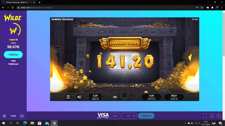 Ramses Revenge Casino win picture by jiipee 22.11.2020 141.20e 706X Wildz
