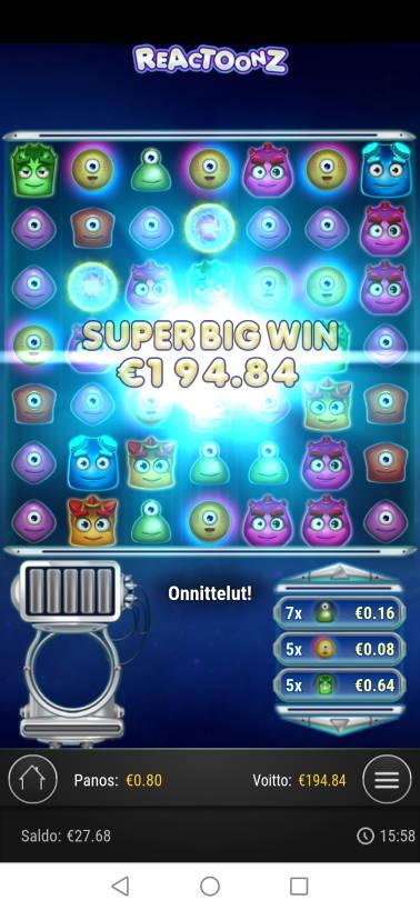 Reactoonz Casino win picture by jyrkkenkloppi 19.11.2020 194.84e 244X