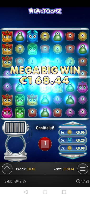 Reactoonz Casino win picture by malibu 3.12.2020 168.44e 421X