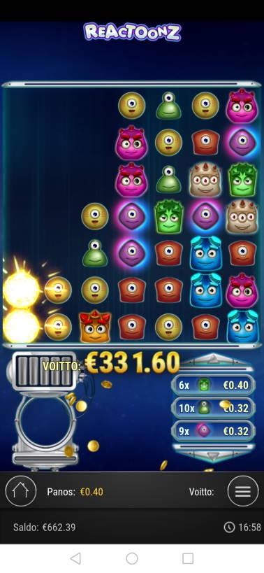 Reactoonz Casino win picture by malibu 3.12.2020 331.60e 829X