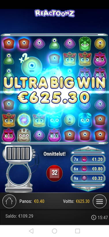 Reactoonz Casino win picture by malibu 3.12.2020 625.30e 1563X