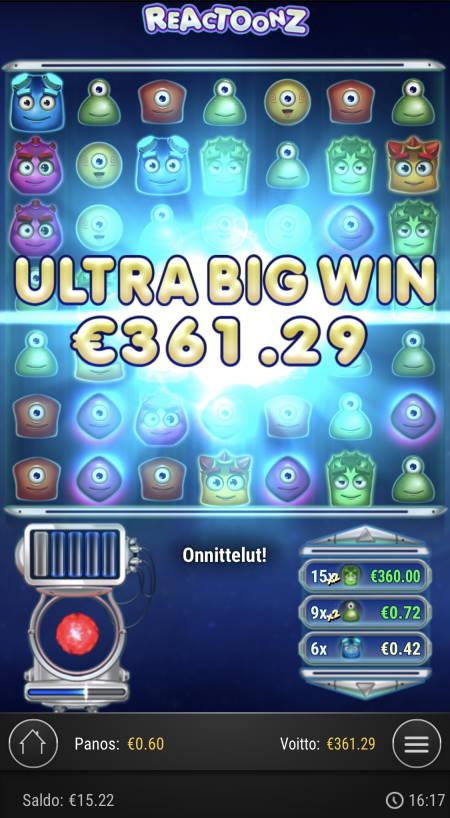 Reactoonz Casino win picture by sonefinland 1.12.2020 361.29e 602X