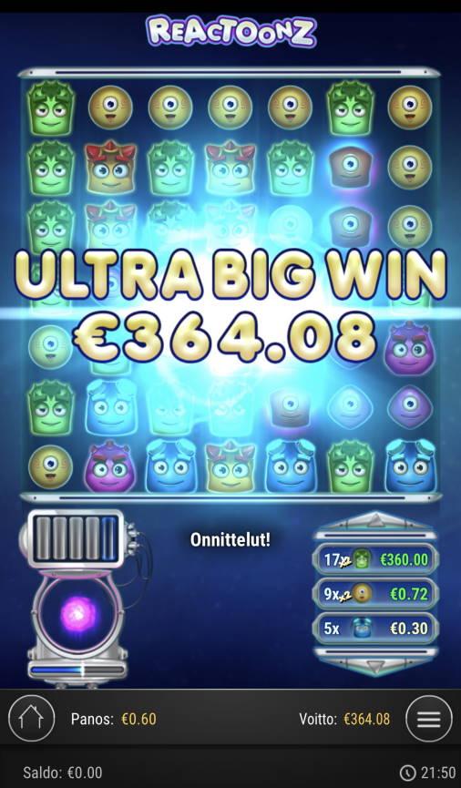 Reactoonz Casino win picture by sonefinland 1.12.2020 364.08e 607X