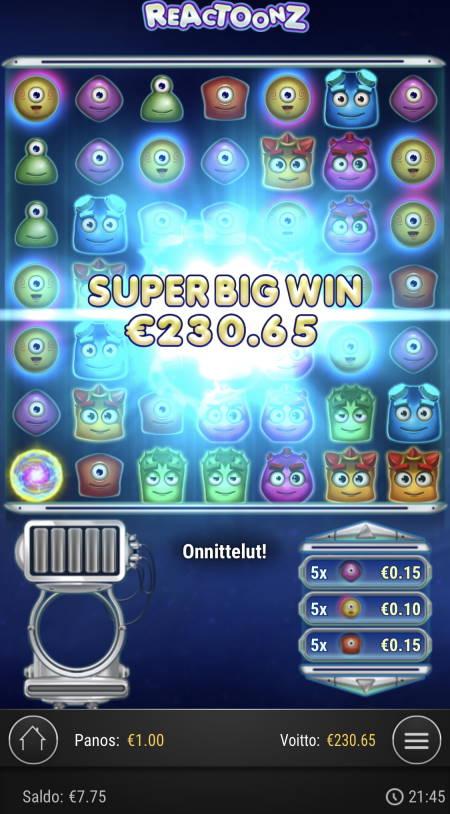 Reactoonz Casino win picture by sonefinland 12.12.2020 230.65e 231X