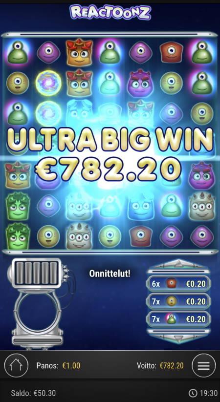 Reactoonz Casino win picture by sonefinland 12.12.2020 782.20e 782X