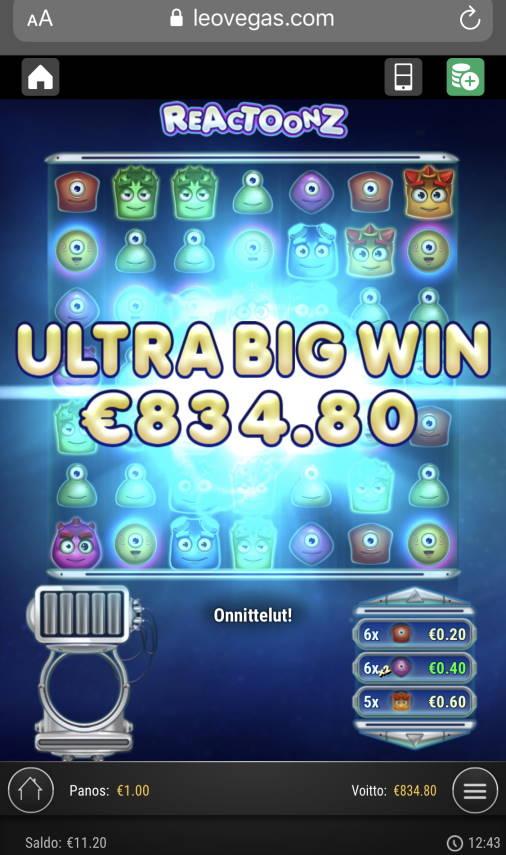 Reactoonz Casino win picture by sonefinland 19.11.2020 834.80e 835X LeoVegas