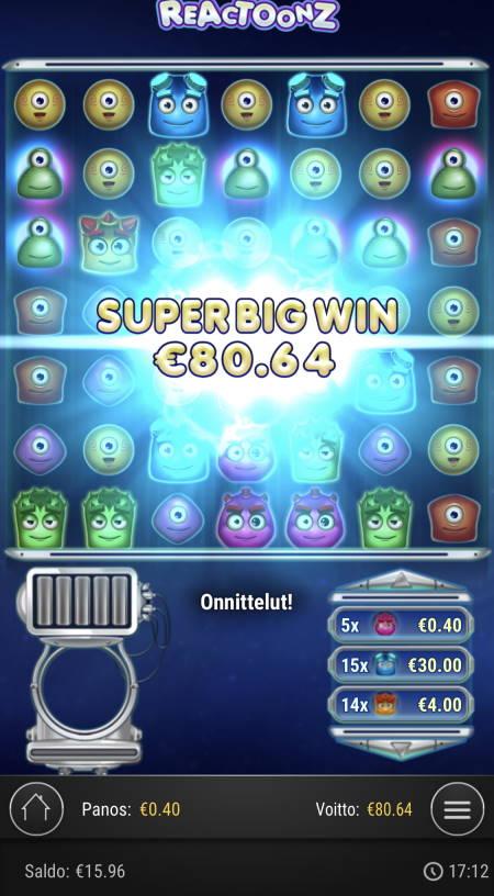 Reactoonz Casino win picture by sonefinland 2.12.2020 80.64e 202X