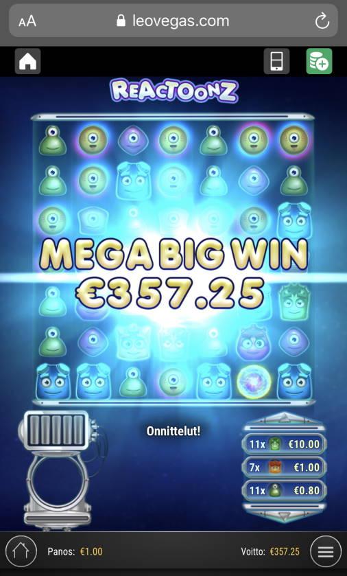 Reactoonz Casino win picture by sonefinland 20.11.2020 357.25e 357X LeoVegas
