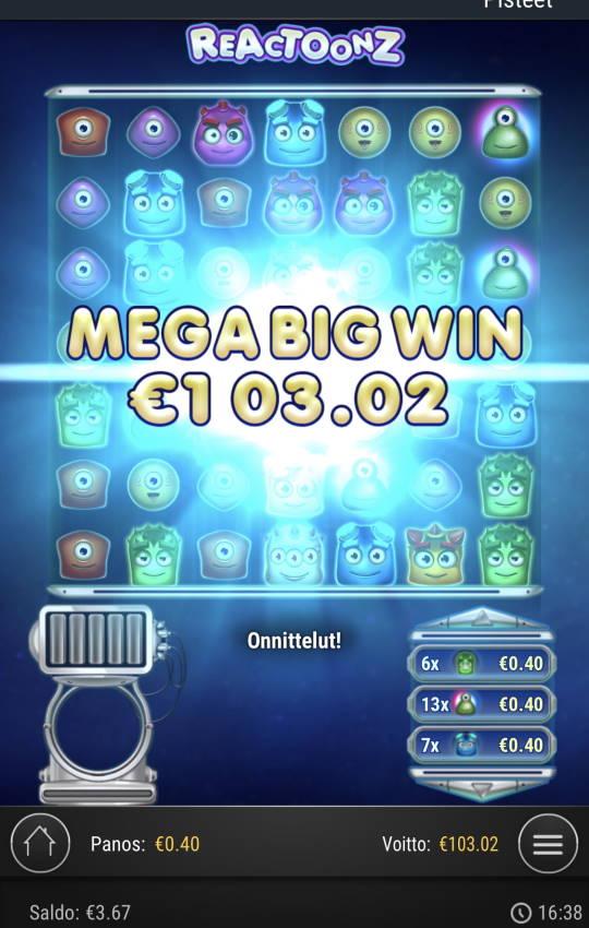 Reactoonz Casino win picture by sonefinland 25.11.2020 103.02e 258X