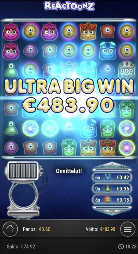 Reactoonz Casino win picture by sonefinland 25.11.2020 483.90e 807X