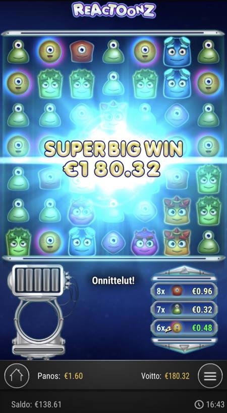 Reactoonz Casino win picture by sonefinland 3.12.2020 180.32e 113X