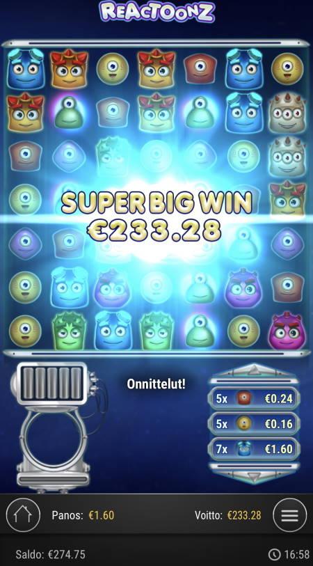 Reactoonz Casino win picture by sonefinland 3.12.2020 233.28e 146X