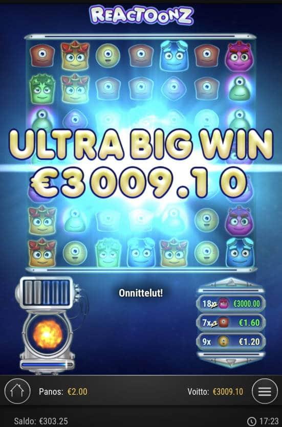 Reactoonz Casino win picture by sonefinland 3.12.2020 3009.10e 1505X