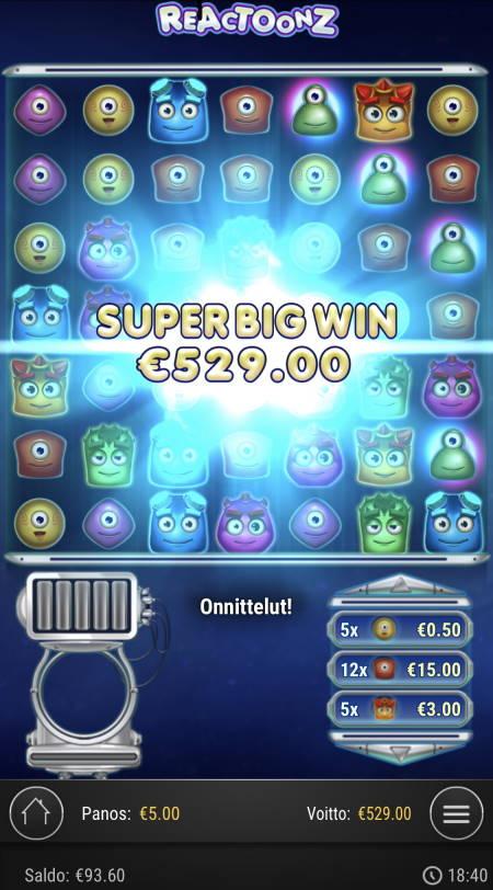 Reactoonz Casino win picture by sonefinland 3.12.2020 529e 106X