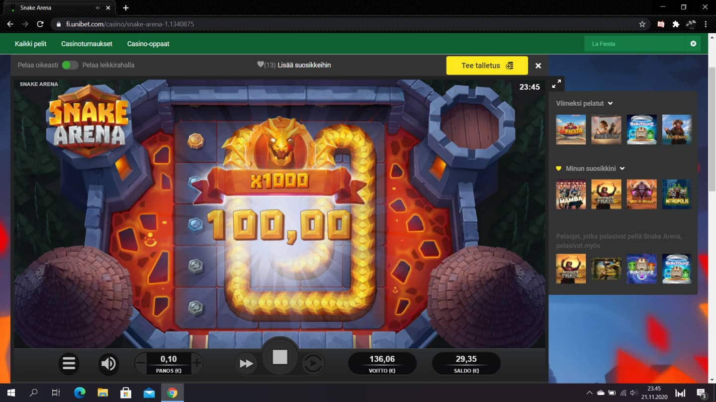 Snake Arena Casino win picture by jiipee 21.11.2020 136.06e 1361X Unibet