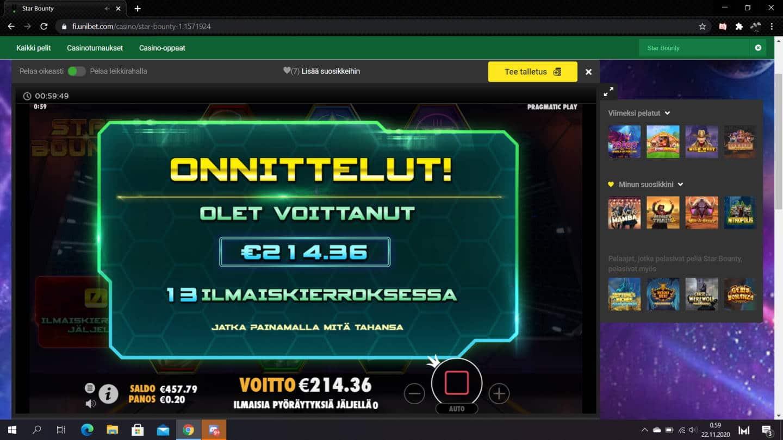 Star Bounty Casino win picture by jiipee 22.11.2020 214.36e 1072X Unibet
