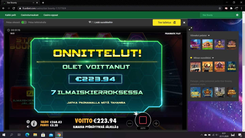Star Bounty Casino win picture by jiipee 22.11.2020 223.94e 1120X Unibet