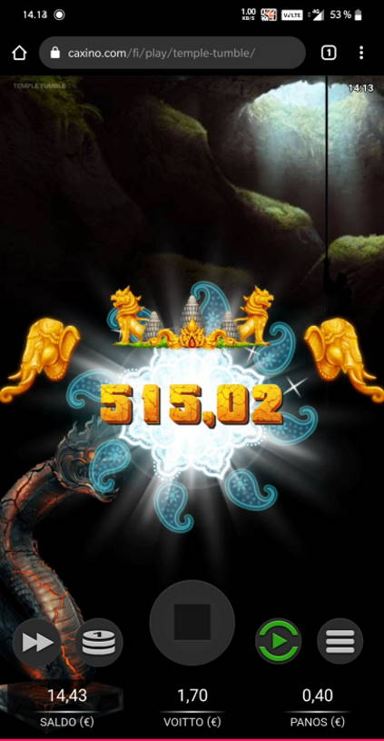 Temple Tumble Casino win picture by Salatheel 27.11.2020 515.02e 1288X Caxino