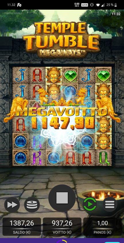 Temple Tumble Megaways Casino win picture by Salatheel 30.11.2020 1147.90e 1148X Wildz