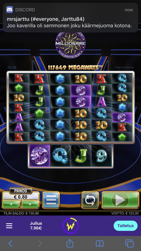 Who Wants to be a Millionaire Casino win picture by WestBliki 20.11.2020 123e 154X Wildz