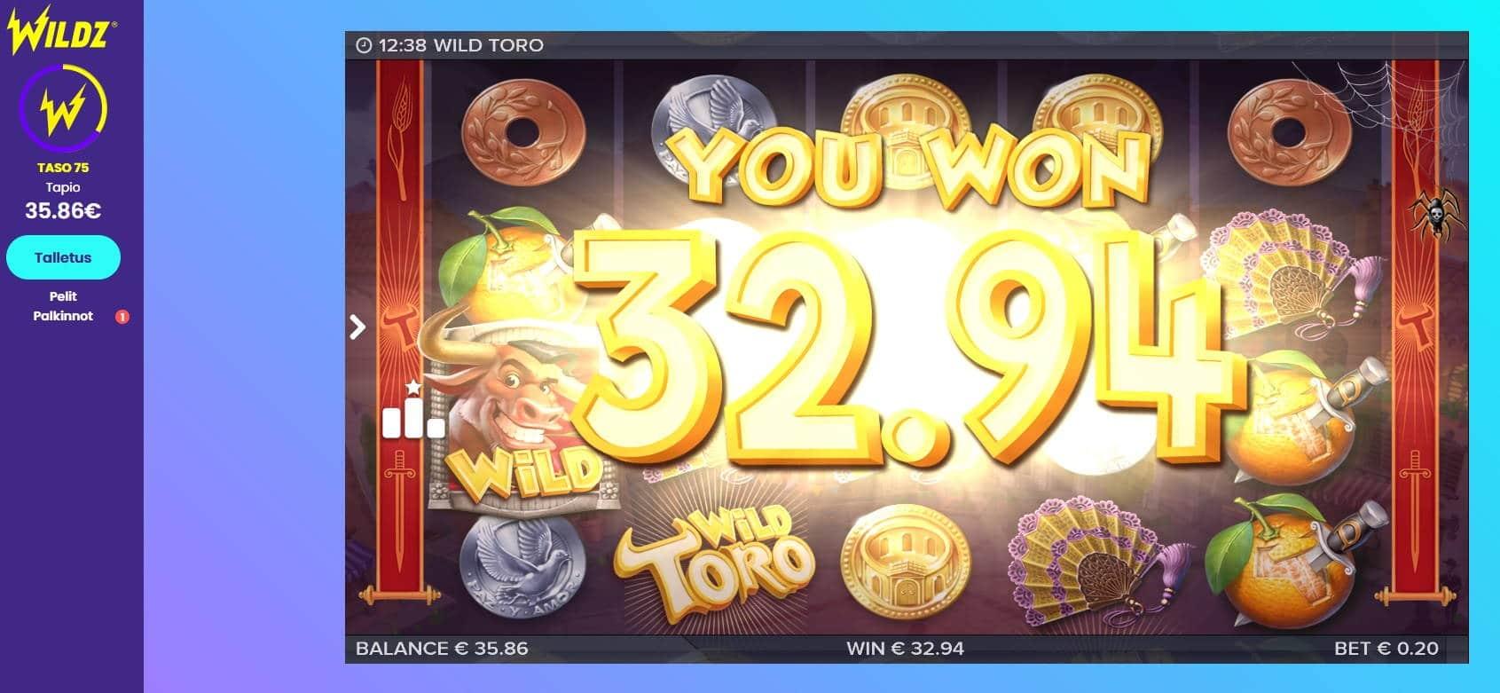 Wild Toro Casino win picture by MrMork666 16.11.2020 32.94e 165X Wildz