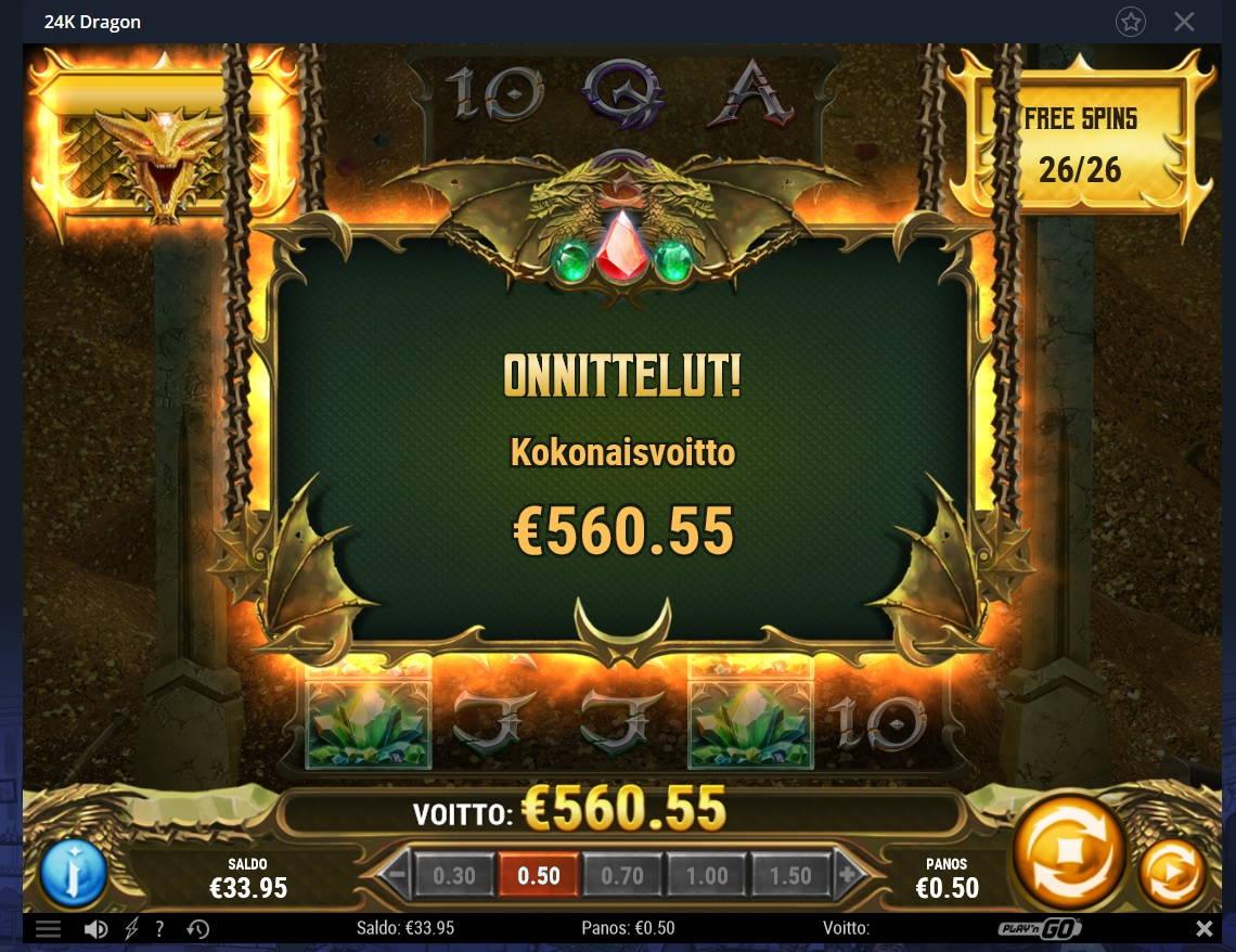 24k Dragon Casino win picture by Mrmork666 15.1.2021 560.55e 1121x Vulkan Vegas