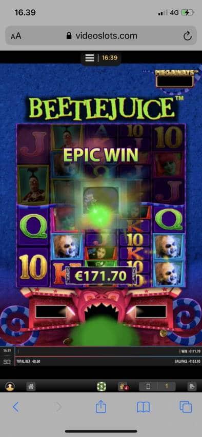 Beetle Juice Casino win picture by leif991 30.12.2020 171.70e 343X Videoslots