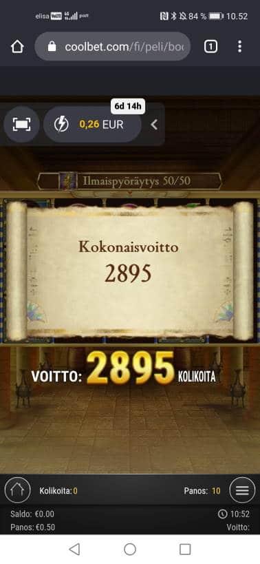 Book of Dead Casino win picture by jyrkkenkloppi 11.1.2021 144.75e 290X Coolbet