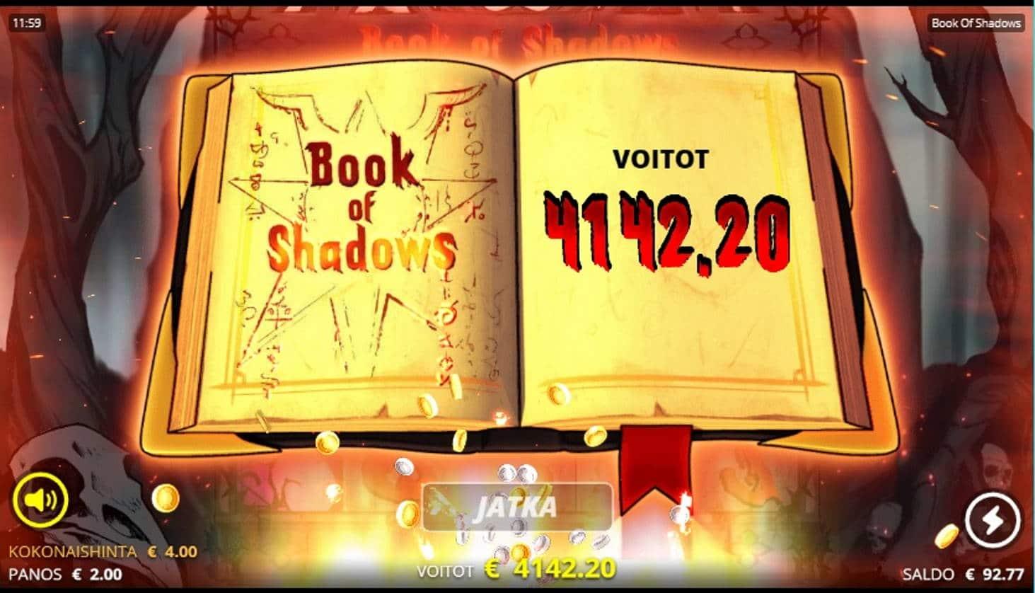 Book of Shadows Casino win picture by Orava 30.12.2020 4142.20e 1036X