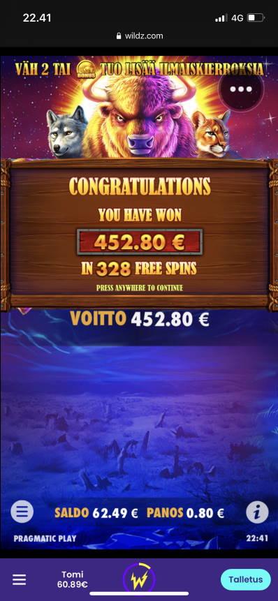 Buffalo King Casino win picture by Turboburo 8.1.2021 452.80e 566X Wildz