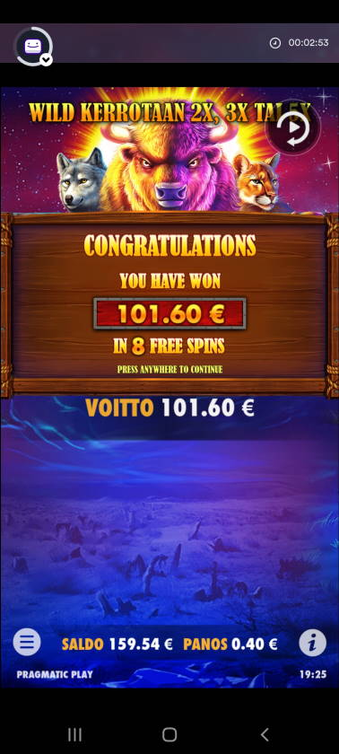 Buffalo King Casino win picture by dj_niemi 11.1.2021 101.60e 254X