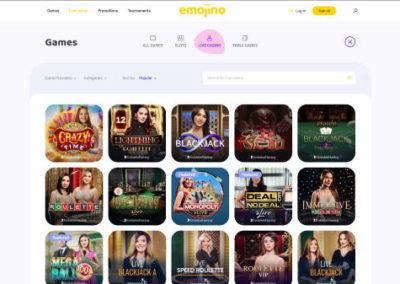 Emojino Casino live casino games