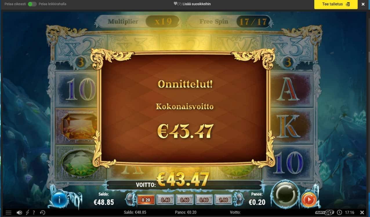 Frozen Gems Casino win picture by Mrmork666 24.12.2020 43.47e 217X