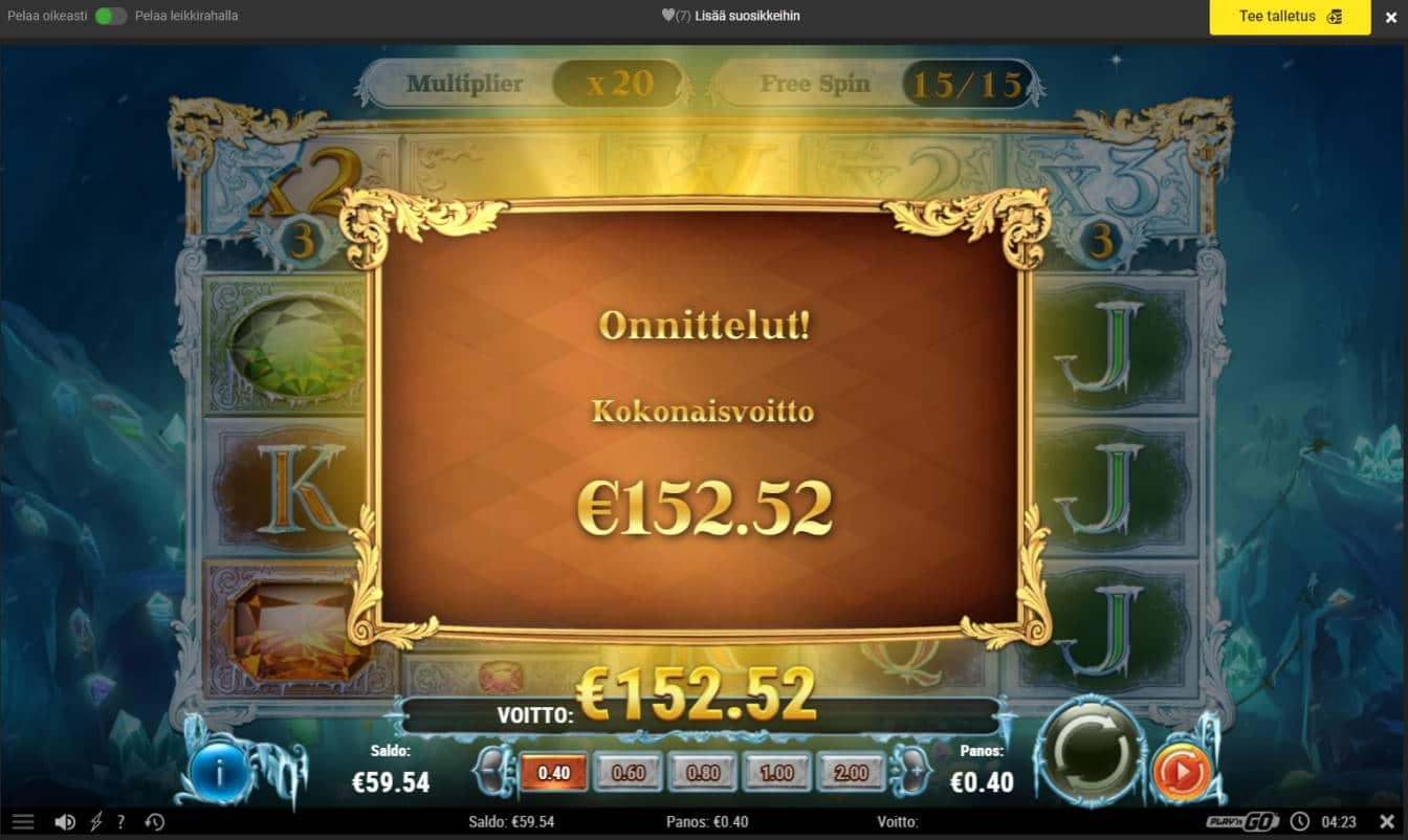 Frozen Gems Casino win picture by Mrmork666 4.1.2021 152.52e 381x